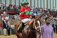 HOT SPRINGS, AR - MARCH 18: Jockey Javier Castellano with a thumbs up aboard Malagacy #6 after winning the Rebel Stakes race at Oaklawn Park on March 18, 2017 in Hot Springs, Arkansas. (Photo by Justin Manning/Eclipse Sportswire/Getty Images)