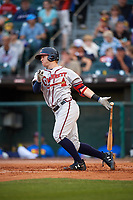 Gwinnett Braves right fielder Dustin Peterson (18) at bat during a game against the Buffalo Bisons on August 19, 2017 at Coca-Cola Field in Buffalo, New York.  Gwinnett defeated Buffalo 1-0.  (Mike Janes/Four Seam Images)