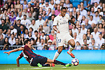 Danielo Luiz Da Silva of Real Madrid competes for the ball with Dani Garcia of SD Eibar in action during their La Liga match between Real Madrid CF and SD Eibar at the Santiago Bernabéu Stadium on 02 October 2016 in Madrid, Spain. Photo by Diego Gonzalez Souto / Power Sport Images