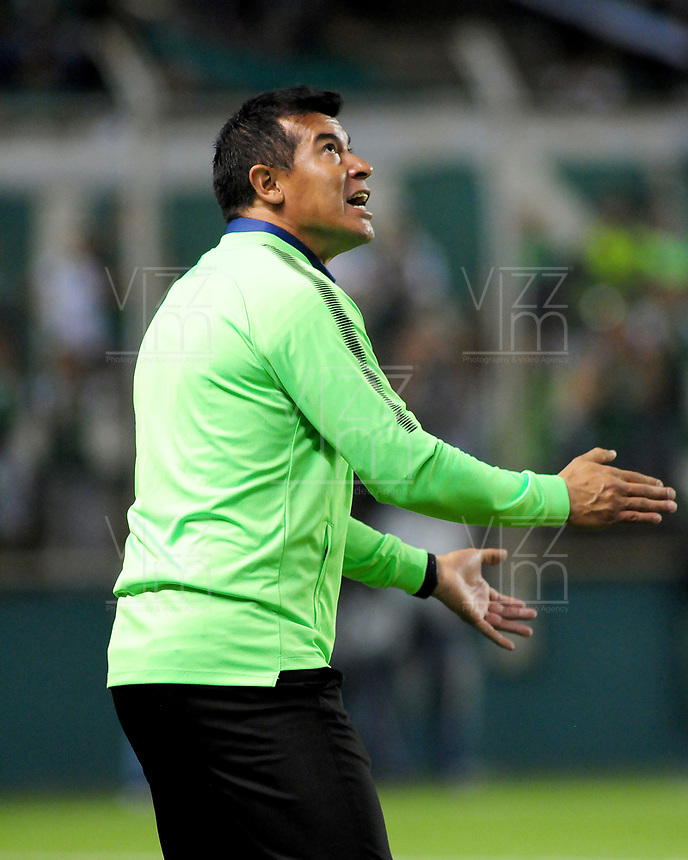 PALMIRA - COLOMBIA, 02-05-2018: Jorge Almiron técnico de Atlético Nacional gesticula durante partido con Deportivo Cali por la fecha 14 de la Liga Águila II 2017 jugado en el estadio Palmaseca de la ciudad de Palmira. / Jorge Almiron coach of Atletico Nacional gestures during a match against Deportivo Cali for the date 14 of the Aguila League II 2017 played at Palmaseca stadium in Palmira city.  Photo: VizzorImage/ Nelson Rios / Cont