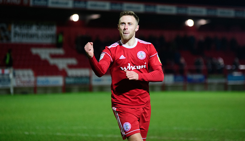 Accrington Stanley's Jordan Clark celebrates after scoring the decisive penalty during the penalty shoot out<br /> <br /> Photographer Andrew Vaughan/CameraSport<br /> <br /> The EFL Checkatrade Trophy Second Round - Accrington Stanley v Lincoln City - Crown Ground - Accrington<br />  <br /> World Copyright © 2018 CameraSport. All rights reserved. 43 Linden Ave. Countesthorpe. Leicester. England. LE8 5PG - Tel: +44 (0) 116 277 4147 - admin@camerasport.com - www.camerasport.com