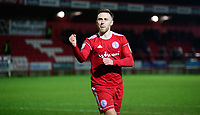 Accrington Stanley's Jordan Clark celebrates after scoring the decisive penalty during the penalty shoot out<br /> <br /> Photographer Andrew Vaughan/CameraSport<br /> <br /> The EFL Checkatrade Trophy Second Round - Accrington Stanley v Lincoln City - Crown Ground - Accrington<br />  <br /> World Copyright &copy; 2018 CameraSport. All rights reserved. 43 Linden Ave. Countesthorpe. Leicester. England. LE8 5PG - Tel: +44 (0) 116 277 4147 - admin@camerasport.com - www.camerasport.com