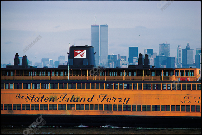 Staten Island Ferry and the World Trade Center, New York City, New York, USA, March 1980