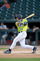 Second baseman Nick Conti (21) of the Columbia Fireflies bats in a game against the Hickory Crawdads on Tuesday, August 27, 2019, at Segra Park in Columbia, South Carolina. Columbia won, 3-2. (Tom Priddy/Four Seam Images)