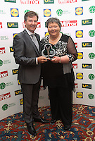 19/05/2015 <br /> Daniel O' Donnell &amp; Mary Arrigan-Langan <br /> during the Irish mirror pride of Ireland awards at the mansion house, Dublin.<br /> Photo: gareth chaney Collins