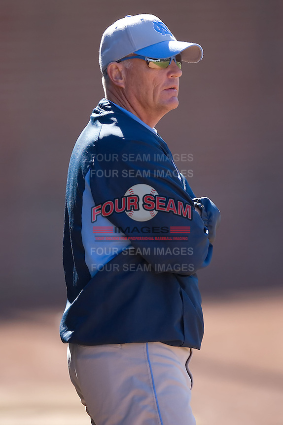 North Carolina Tar Heels head coach Mike Fox watches infield practice at the 2008 Coca-Cola Classic at the Winthrop Ballpark in Rock Hill, SC, Sunday, March 2, 2008.