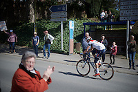 not a good day on the bike for Matthias Brändle (AUT/IAM) as he hangs out the back pretty much straight after the first few cobble strokes <br /> <br /> 114th Paris-Roubaix 2016