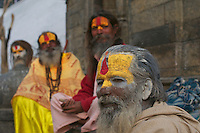 Sadhus at Shambhu Nath Hindu traditional Cremation Area