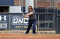GREENSBORO, NC - MARCH 11: Head coach Janelle Breneman of UNC Greensboro during a game between Northern Illinois and UNC Greensboro at UNCG Softball Stadium on March 11, 2020 in Greensboro, North Carolina.