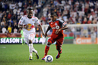 Joao Plata (7) of Toronto FC is marked by Dane Richards (19) of the New York Red Bulls. The New York Red Bulls defeated Toronto FC 5-0 during a Major League Soccer (MLS) match at Red Bull Arena in Harrison, NJ, on July 06, 2011.