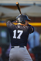 Tampa Yankees center fielder Jake Skole (17) at bat during a game against the Lakeland Flying Tigers on April 7, 2016 at Henley Field in Lakeland, Florida.  Tampa defeated Lakeland 9-2.  (Mike Janes/Four Seam Images)