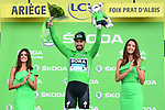 Peter Sagan (SVK) Bora-Hansgrohe retains the points Green Jersey at the end of Stage 15 of the 2019 Tour de France running 185km from Limoux to Foix Prat d'Albis, France. 20th July 2019.<br /> Picture: ASO/Alex Broadway | Cyclefile<br /> All photos usage must carry mandatory copyright credit (© Cyclefile | ASO/Alex Broadway)