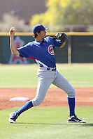 Ryan Flaherty of the Chicago Cubs plays in a minor league spring training game against the Los Angeles Angels at the Angels minor league complex on April 3, 2011  in Tempe, Arizona. .Photo by:  Bill Mitchell/Four Seam Images.