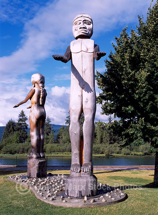 Port Alberni, Vancouver Island, BC, British Columbia, Canada - Nuu-Chah-Nulth Welcome Figure Totem Poles