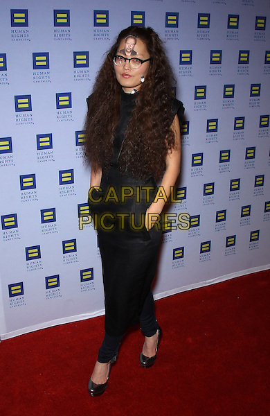 Hana Mae Lee.Las Vegas Celebrities celebrate equal love at the 8th Annual Human Rights Campaign Dinner Gala at Aria Las Vegas, Las Vegas, Nevada, USA, 18th May 2013..full length  dress pockets black face on head forehead glasses picture .CAP/ADM/MJT.© MJT/AdMedia/Capital Pictures