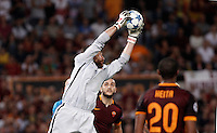 Calcio, Champions League, Gruppo E: Roma vs Barcellona. Roma, stadio Olimpico, 16 settembre 2015.<br /> Roma&rsquo;s goalkeeper Morgan De Sanctis grabs the ball during a Champions League, Group E football match between Roma and FC Barcelona, at Rome's Olympic stadium, 16 September 2015.<br /> UPDATE IMAGES PRESS/Isabella Bonotto