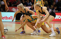 20.10.2016 Silver Ferns Shannon Francois, Laura Langman and Australia's Madi Robinson in action during the Silver Ferns v Australia netball test match played at ILT Stadium in Invercargill. Mandatory Photo Credit ©Michael Bradley.