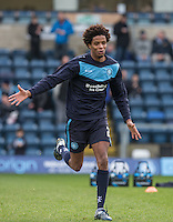 Sido Jombati of Wycombe Wanderers warms up during the Sky Bet League 2 match between Wycombe Wanderers and Leyton Orient at Adams Park, High Wycombe, England on 23 January 2016. Photo by Andy Rowland / PRiME Media Images.