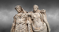 Close up of Roman Sebasteion relief  sculpture of Nero being crowned emperor by Agrippina, Aphrodisias Museum, Aphrodisias, Turkey. <br /> <br /> Agrippina crowns her young son Nero with a laurel wreath. She carries a cornucopia, a symbol of Fortune and Plenty, and he wears the armour and cloak of a Roman commander, with a helmet on the ground near his feet. The scene refers to Nero&rsquo;s accession as emperor in AD 54, and belongs before AD 59 when Nero had Agrippina murdered.