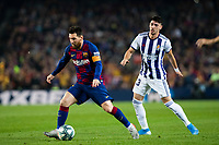 29th October 2019; Camp Nou, Barcelona, Catalonia, Spain; La Liga Football, Barcelona versus Real Valladolid; 10 Lionel Messi goes past the challenge from Federico Barba - Editorial Use