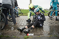 Nikolas Maes (BEL/Ettix-QuickStep) crashed with teammates Mark Cavendish (GBR/Ettix-QuickStep) &amp; Lukasz Wisniowski (POL/Ettix-QuickStep) on the same section of slippery cobbles<br /> <br /> 77th Gent-Wevelgem 2015