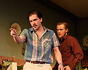 """The first UK production, since the death of playwright Sam Shepard's play """"True West"""", opens at the Vaudeville Theatre, directed by Matthew Dunster. Kit Harington and Johnny Flynn star, as brothers Austin and Lee, with Madeleine Potter and Donald Sage Mackay completing the cast. Picture shows: Kit Harington (Austin) and Johnny Flynn (Lee)."""