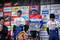 podium:<br /> <br /> 1st place: Fabio Jakobsen (NED/Deceuninck Quick Step)<br /> 2nd place: Timothy Dupont (BEL/Wanty Gobert)<br /> 3th place: Alfdan De Decker (BEL/Wanty Groupe Gobert)<br /> <br /> GP Monseré 2020<br /> One Day Race: Hooglede – Roeselare 196.8km. (UCI 1.1)<br /> Bingoal Cycling Cup 2020