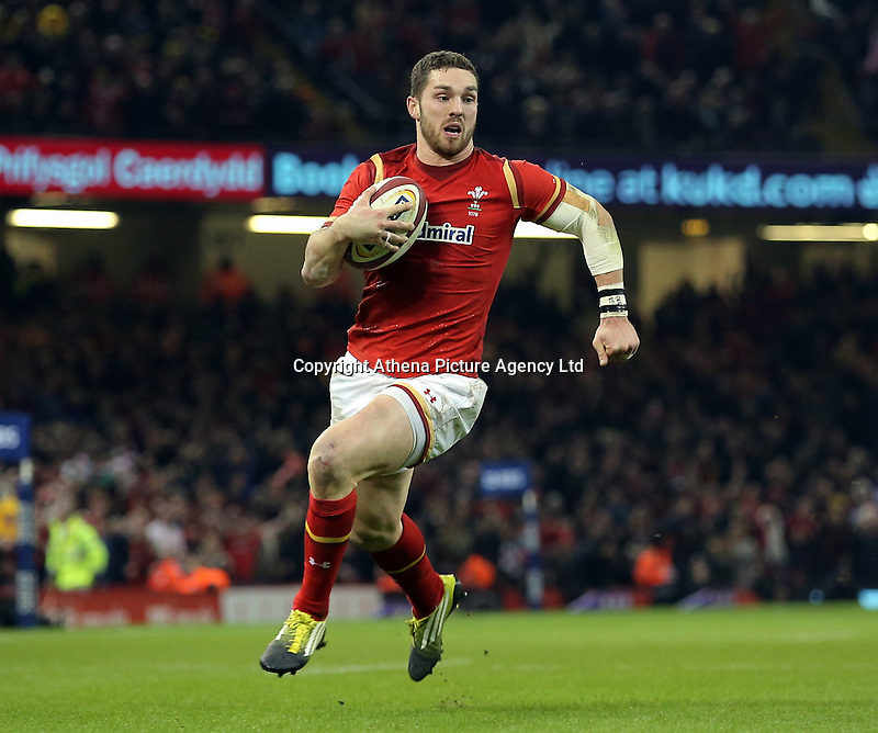 George North of Wales on his final run before scoring a try during the RBS 6 Nations Championship rugby game between Wales and Scotland at the Principality Stadium, Cardiff, Wales, UK Saturday 13 February 2016