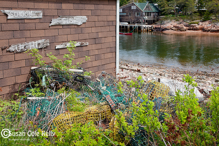 Schoodic Sushi sign in Wonsqueak Harbor, Gouldsbobo, ME, USA