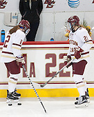Lexi Bender (BC - 21), Grace Bizal (BC - 2) - The Boston College Eagles defeated the visiting Providence College Friars 7-1 on Friday, February 19, 2016, at Kelley Rink in Conte Forum in Boston, Massachusetts.