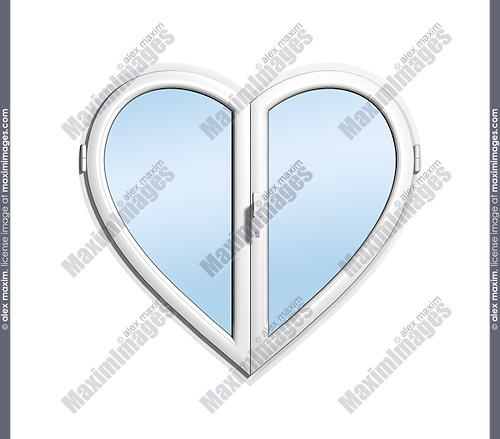 Heart-shaped uPVC window isolated on white background
