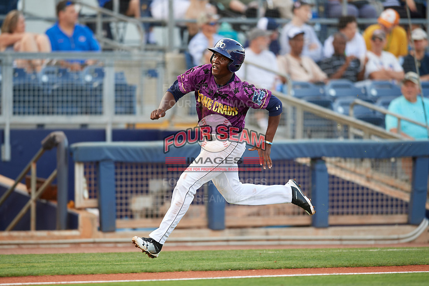 Charlotte Stone Crabs right fielder Jesus Sanchez (4) runs home during a game against the Palm Beach Cardinals on April 21, 2018 at Charlotte Sports Park in Port Charlotte, Florida.  Charlotte defeated Palm Beach 5-2.  (Mike Janes/Four Seam Images)