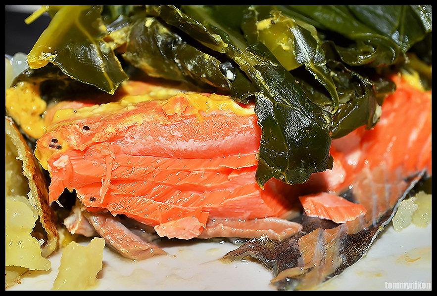 NW salmon+collard greens+baked potato