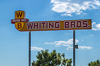The sign for the last remaining Whiting Bros. gas station in Moriarty New Mexico.The Whiting Bros. gas stations were founded in 1926 and were a familiar sight all along Route 66 in the Southwest.  The chain ended in the 1990 with only one station left which was purchased by Sal Lucero a lifelong employee of  Whiting Bros. and never changed the name.