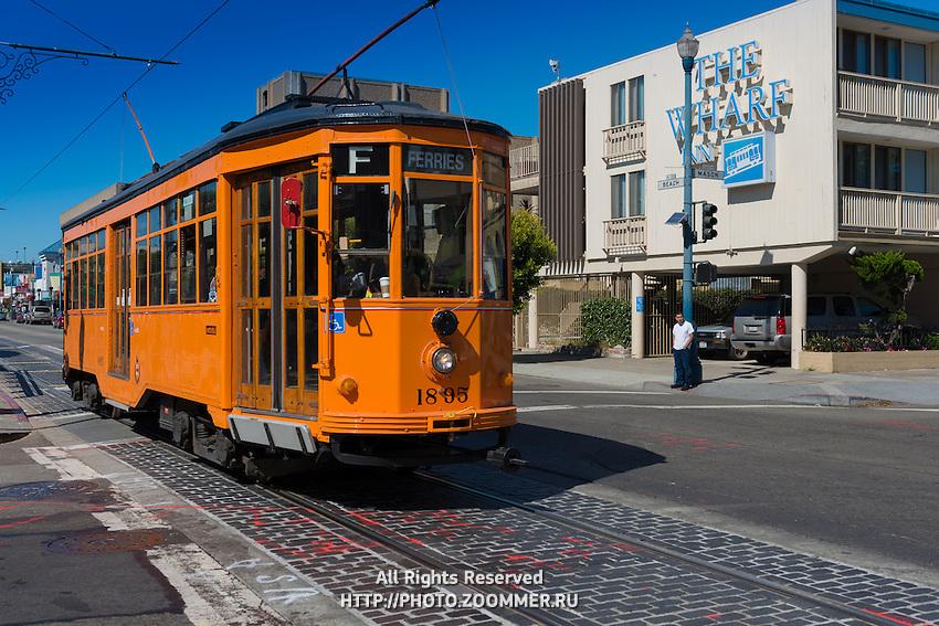 San Francisco F Tram near the Wharf, California