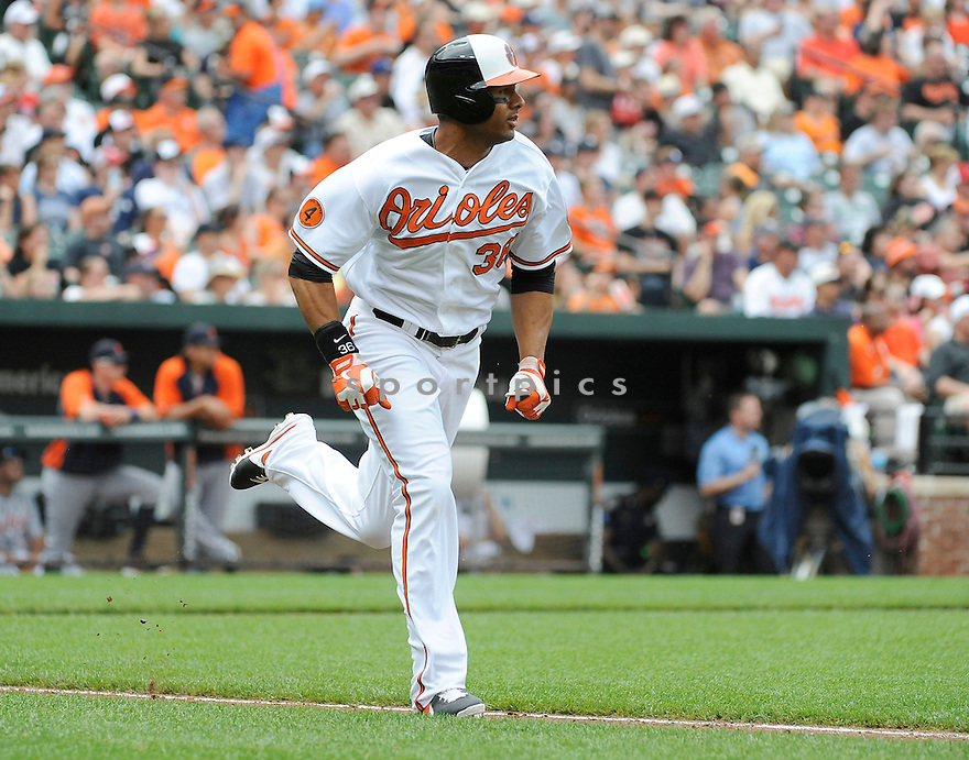Baltimore Orioles Chris DIckerson (36)  during a game against the Detroit Tigers on June 2, 2013 at Oriole Park in Baltimore, MD. The Orioles beat the Tigers 4-2.