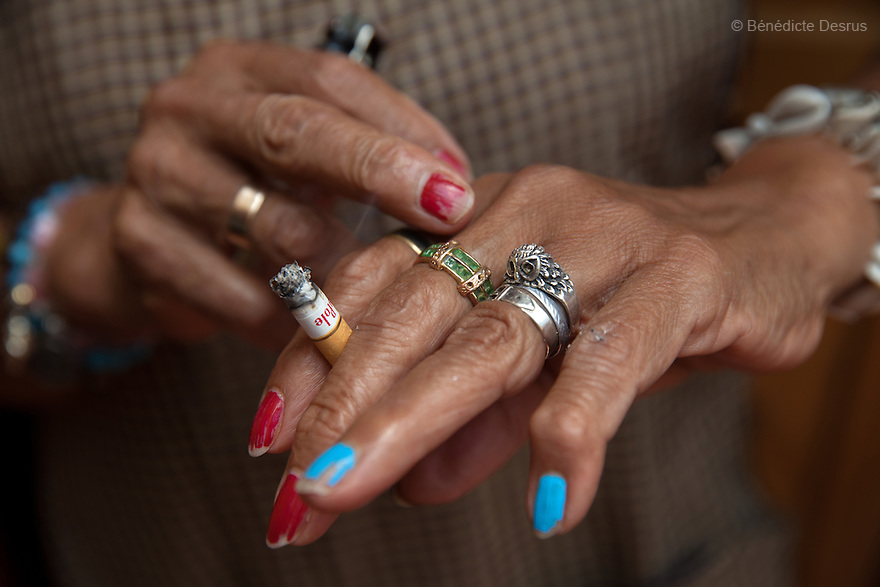 Hands of Luchita, a resident of Casa Xochiquetzal, in Mexico City, Mexico on July 11, 2013. Casa Xochiquetzal is a shelter for elderly sex workers in Mexico City. It gives the women refuge, food, health services, a space to learn about their human rights and courses to help them rediscover their self-confidence and deal with traumatic aspects of their lives. Casa Xochiquetzal provides a space to age with dignity for a group of vulnerable women who are often invisible to society at large. It is the only such shelter existing in Latin America. Photo by Bénédicte Desrus