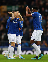 23rd  November 2019; Goodison Park , Liverpool, Merseyside, England; English Premier League Football, Everton versus Norwich City; Lucas Digne of Everton high fives team mate Yerry Mina before the kick off  - Strictly Editorial Use Only. No use with unauthorized audio, video, data, fixture lists, club/league logos or 'live' services. Online in-match use limited to 120 images, no video emulation. No use in betting, games or single club/league/player publications