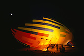 Makande, Gabon. The dirigible in the early morning on the ground being inflated and prepared for takeoff.