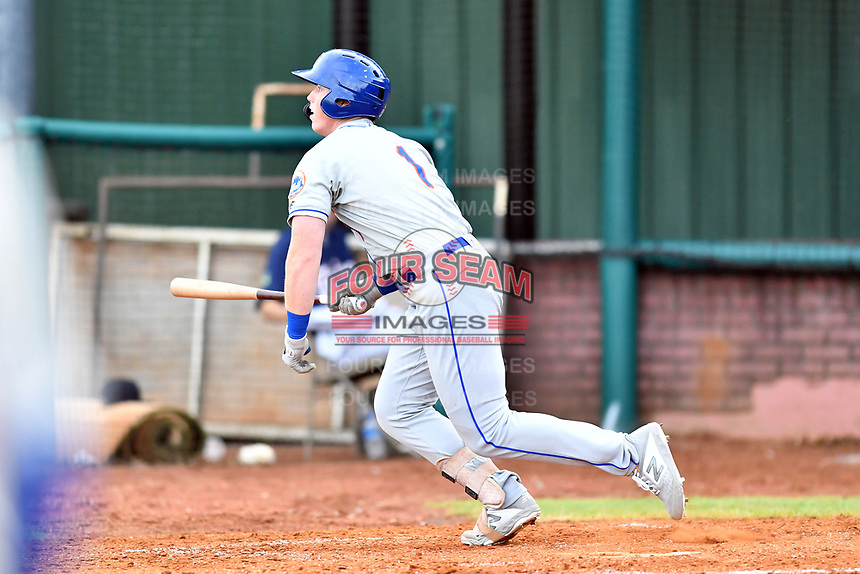 Kingsport Mets designated hitter Brett Baty (1) runs to first base during a game against the Elizabethton Twins at Joe O'Brien Field on July 6, 2019 in Elizabethton, Tennessee. The Twins defeated the Mets 5-3. (Tony Farlow/Four Seam Images)