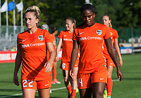 Kansas City, MO - Sunday July 02, 2017:  Nichelle Prince and Camille Levin walk back to the locker room shortly before a regular season National Women's Soccer League (NWSL) match between FC Kansas City and the Houston Dash at Children's Mercy Victory Field.