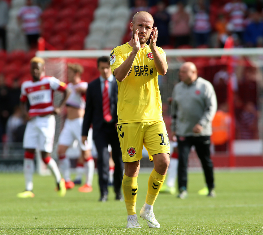 Fleetwood Town's Paddy Madden applauds the fans at the final whistle <br /> <br /> Photographer David Shipman/CameraSport<br /> <br /> The EFL Sky Bet League One - Doncaster Rovers v Fleetwood Town - Saturday 17th August 2019  - Keepmoat Stadium - Doncaster<br /> <br /> World Copyright © 2019 CameraSport. All rights reserved. 43 Linden Ave. Countesthorpe. Leicester. England. LE8 5PG - Tel: +44 (0) 116 277 4147 - admin@camerasport.com - www.camerasport.com