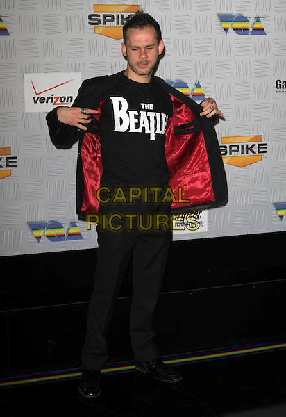 DOMINIC MONAGHAN.Spike TV's 2010 Video Game Awards held At The LA Convention Center, Los Angeles, CA, USA..December 11th, 2010.full length the beatles t-shirt eyes closed funny beard facial hair trousers red lining jacket .CAP/ADM/KB.©Kevan Brooks/AdMedia/Capital Pictures.