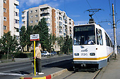 Bucharest, Romania. Modern RATB tram at stop.