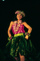 Woman dancing hula at Merrie Monarch festival, Hilo, Big Island of Hawaii