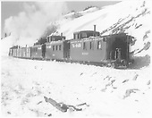 Probably D&amp;RGW #494 with rescue train on Cumbres Pass.<br /> D&amp;RGW  Cumbres Pass, CO  Taken by Norwood, John B. - Jan-Feb 1/1952