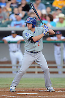 Chattanooga Lookouts left fielder Blake Smith #7 awaits a pitch during a game against the Tennessee Smokies at Smokies Park on April 10, 2013 in Kodak, Tennessee. The Lookouts won 6-2. (Tony Farlow/Four Seam Images).