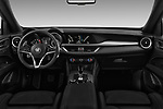 Stock photo of straight dashboard view of 2018 Alfa Romeo Stelvio Base 5 Door SUV