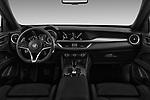 Stock photo of straight dashboard view of 2018 Alfa Romeo Stelvio Base 5 Door SUV