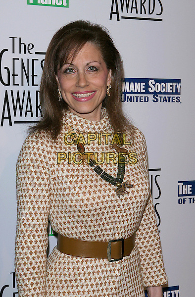 VICKI ROBERTS.The 19th Annual Genesis Awards Presented by The Humane Society held at the Beverly Hilton Hotel. Beverly Hills, California.March 19th, 2005.Photo Credit: Jacqui Wong/AdMedia.half length brown polka dot dress brown belt necklace wooden jewellery.www.capitalpictures.com.sales@capitalpictures.com.© Capital Pictures.